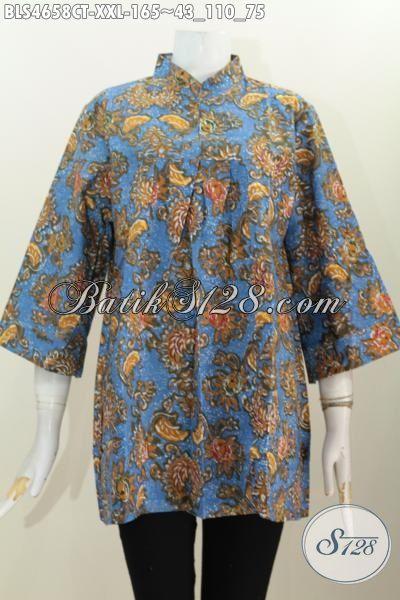 Jual Baju Batik Kerah Shanghai Tanpa Kancing Untuk Wanita Gemuk, Baju Batik Halus Proses Cap Tulis Ukuran Jumbo modis Untuk Bekerja, Size XXL