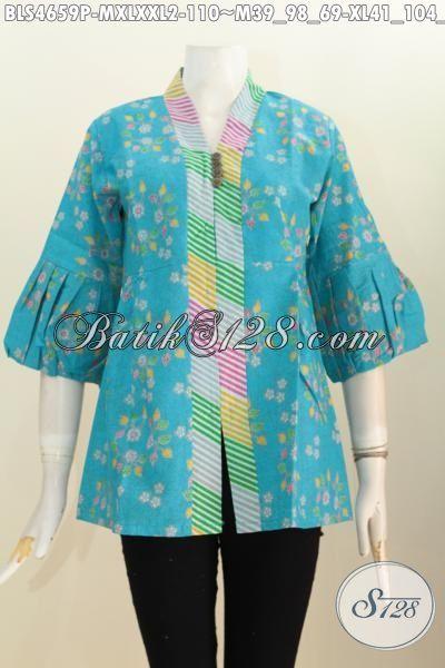 Blus Batik Biru Dengan Aksen Garis Berpadu Motif Unik Proses Printing, Busana Batik Wanita Desain Trendy Kerah Langsung Kancing Banyak Tampil Makin Modis, Size M – XL – XXL