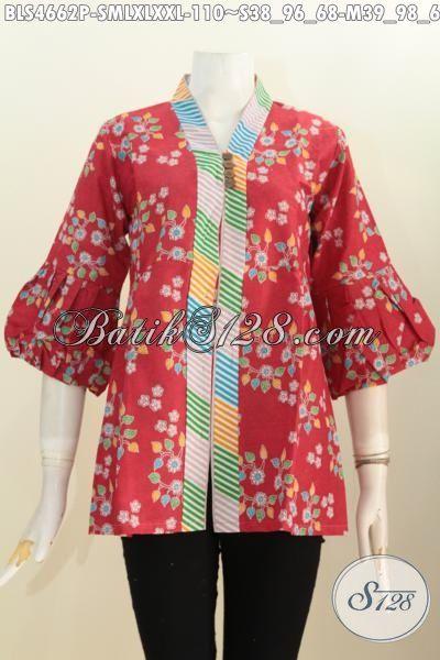 Aneka Pakaian Batik Modis Halus Warna Merah Motif Unik, Baju Batik Printing Model Kerah Langsung Kancing Banyak Kesukaan Wanita Karir Untuk Seragam Ke Kantor [BLS4662P-XXL]