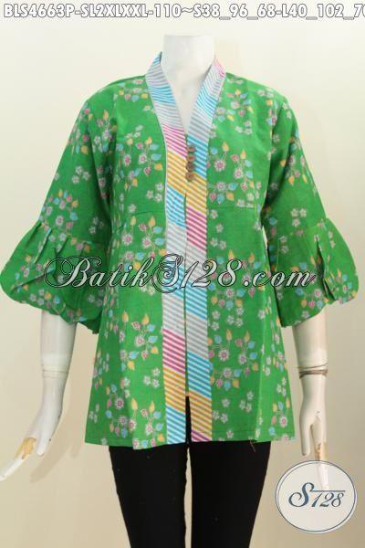 Batik Blus Fashion Wanita Dewasa, Pakaian Batik Warna Hijua Desain Keren Nan Berkelas, Batik Blus Kerah Langsung Kancing Banyak Bahan Halus Proses Printing Hanya 110K, Size L – XL