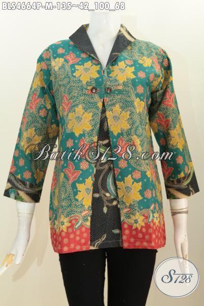 Busna Batik Formal Wanita Karir Dengn Model Blus Kombinasi Blazer, Baju Batik Istimewa Kwalitas Halus Motif Mewah Proses Printing Harga Murmer, Size M