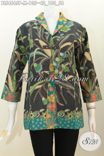 Baju Blus Blazer Produk Pakaian Wanita Karir Masa Kini, Busana Batik Istimewa Berkelas Motif Mewah Proses Printing Bikin Penampilan Lebih Elegan, Size M