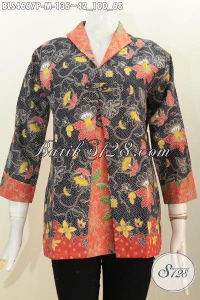 Blus Batik Motif Bunga Dua Warna, Produk Baju Batik Wanita Desain Kombinasi Blazer Proses Printing Cocok Banget Untuk Acara Formal, Size M