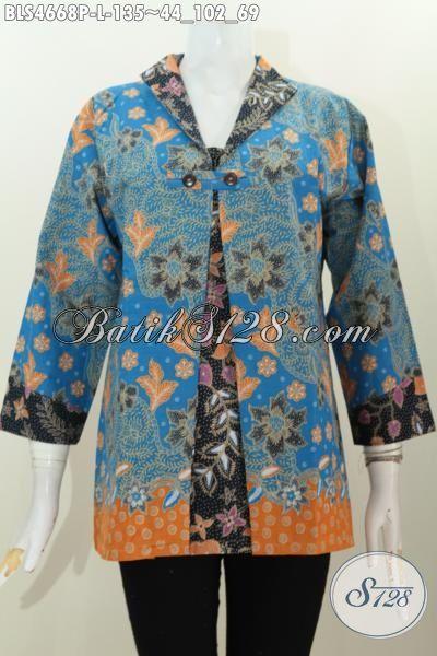 Pakaian Blus Blatik Desain Terkini Dengan Kombinasi Blazer Nan Istimewa, Baju Batik Modis Motif Bunga Proses Printing Di Jual Online Hanya 135K, Size L