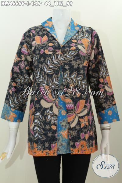 Jual Online Blus Batik Dua Motif Dan Warna Desain Kombinasi Blazer Lebih Gaya Dan Mewah, Baju Batik Istimewa Dari Solo Untuk Wanita Muda Tampil Makin Gaya, Size L