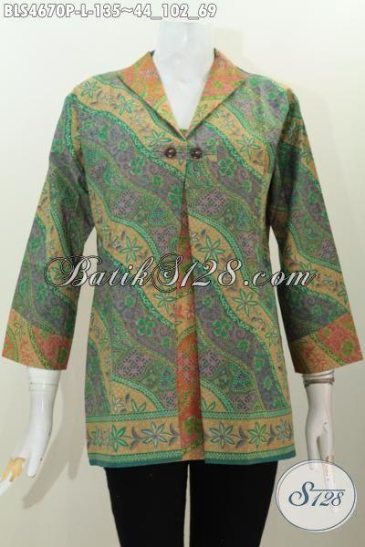 Baju Batik Blus Kombinasi Blazer Produk Terkini Dari Solo, Pakaian Batik Formal Wanita Muda Karir Hadir Dengan Motif Berkelas Proses Printing Bikin Penampilan Lebih Anggun Dan Mempesona, Size L