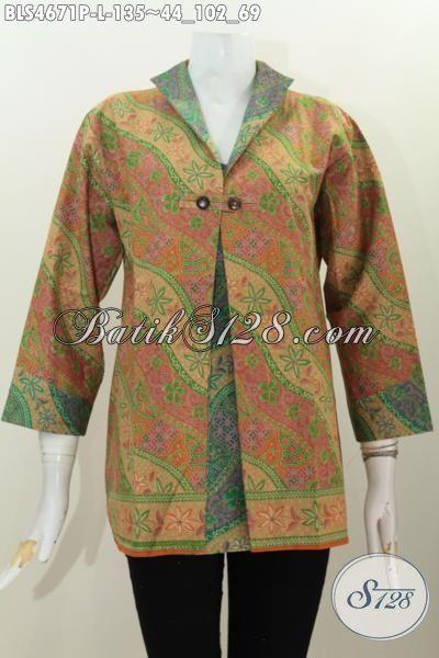 Baju Batik Solo Untuk Wanita Karir Size L, Jual Baju Blus Batik Kombinasi Blazer Untuk Penampilan Lebih Modis Dan Gaya Proses Printing