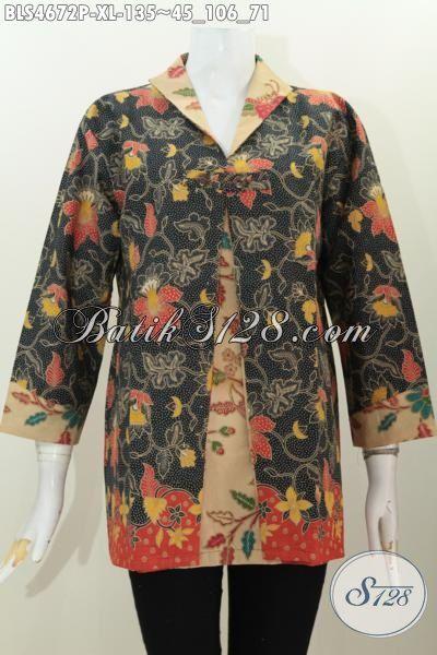 Online Shop Produk Batik Jawa Tengah Paling Up To Date, Jual Blus Batik Kombinasi Blazer Bahan Halus Motif Bunga Warna Elegan Proses Printing 135 Ribu, Size XL