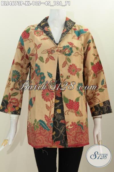 Produk Pakaian Batik Wanita Terbaru, Baju Blus Motif Bunga Dengan Model Kombinasi Blazer, Baju Batik Istimewa Bebahan Halus Proses Printing Bias Untuk Ke Kondangan, Size XL