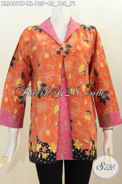 Pakaian Batik Istimewa Warna Orange Kombinasi Pink, Blus Batik Model Kombinasi Blazer Motif Bagus Proses Printing Hanya 135K, Size XL