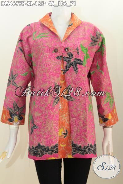 Blus Pink Kombinasi Orange Dengan Model Blus Blazer Buat Wanita Dewasa Terlihat Lebih Feminim, Baju Batik Size XL Berbahan Halus Proses Print Asli Dari Jaw Tengah [BLS4675P-XL]