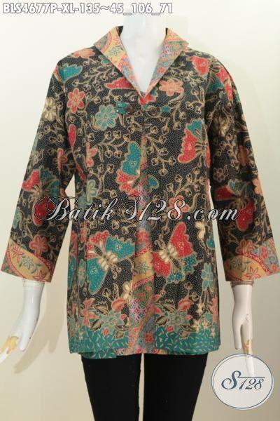 Jual Pakaian Batik Blus Kombinasi Blazer Motif Bunga Proses Printing, Pakaian Batik Masa Kini Motif Bunga Untuk Perempuan Dewasa Terlihat Cantik Dan Rapi [BLS4677P-XL]