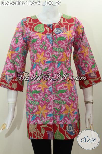 Jual Baju Batik Blus Kombinasi Dua Warna Busana Batik