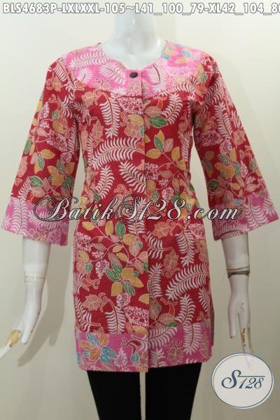 Baju Blus Batik 100 Ribuan Dengan Model Keren Kombinasi Dua Warna Motif Unik Proses Printing Untuk Acara Santai, Size L – XL – XXL