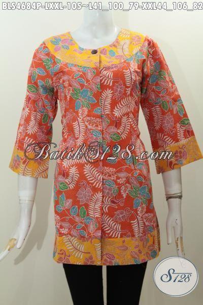 Pakaian Batik Kombinasi Dua Warna Orange Dan Kuning Motif Bagus Proses Printing Di Jual Online 100 Ribuan, Size LL – XXL