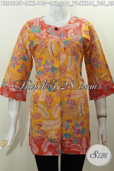 Baju Blus Batik Murmer Desain Keren Kombinasi Dua Warna