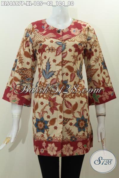 Produk Pakaian Batik Wanita Dewasa Terbaru, Baju Blus Istimewa Dengan Kombinasi Dua Warna Trend Masa Kini Untuk Penampilan Lebih Modis Dan Gaya Bermotif Unik Proses Printing Harga Murmer, Size XL