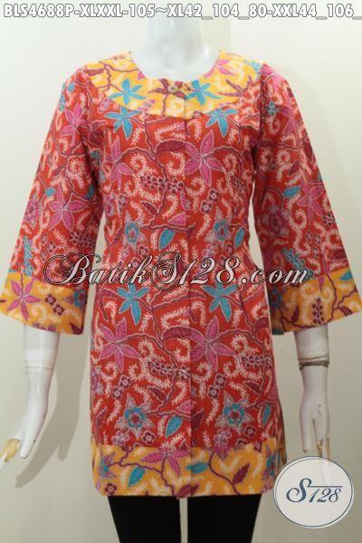 Pakaian Batik Solo Motif Bagus Dengan Kombinasi Dua Warna Istimewa Trend Masa Kini, Baju Batik Halus Proses Printing Modis Buat Jalan-Jalan, Size XL – XXL