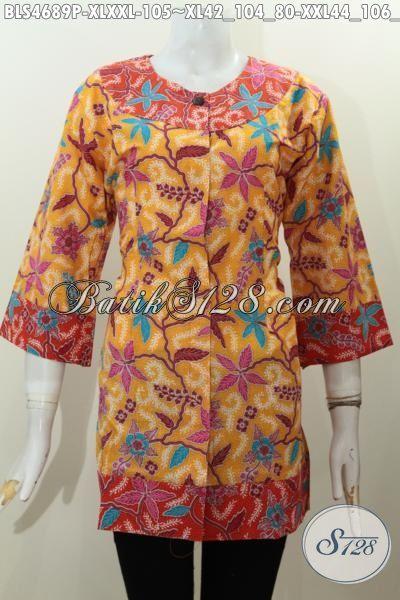 Jual Online Harga Grosir Baju Blus Kombinasi Dua Warna Motif Trendy Proses Printing Ukuran XL Dan XXL Untuk Wanita Dewasa Tampil Begaya