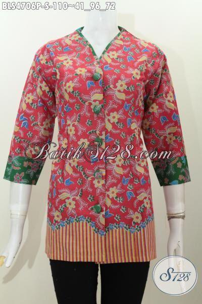 Busana Batik Wanita Motif Bunga Proses Printing Warna Pink, Baju Batik Trendy Halus Bahan Adem Desain Bekelas Tampil Makin Mempesona, Size S