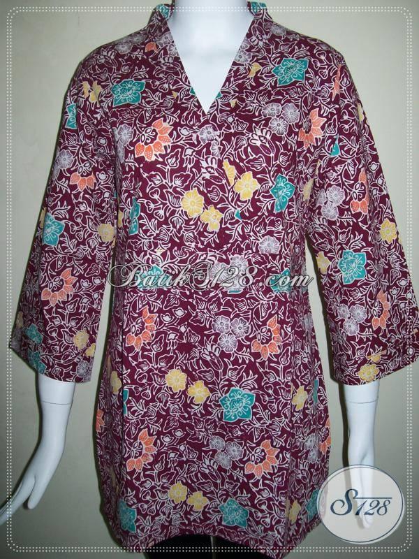 Blus Kerja Batik Wanita,Baju Batik Warna Merah Hati Untuk Wanita Karir Model Kimono