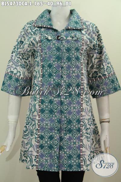 Blus Batik Salut Warna Hijau Motif Bagus Berkelas, Pakaian Batik Etnik Warna Kalem Proses Cap Alam Desain Mewah Bikin Wanita Terlihat Mempesona [BLS4730CA-L]