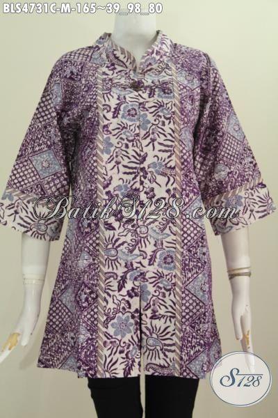Pakaian Batik Perempuan Terbaru, Hadir Dengan Berkelas Nan Mewah Cocok Untuk Seragam Kerja, Baju Batik Blus Salur Istimewa Dari Solo Motif Terbaru Proses Cap Warna Alam Tampil Mankin Cantik, Size M