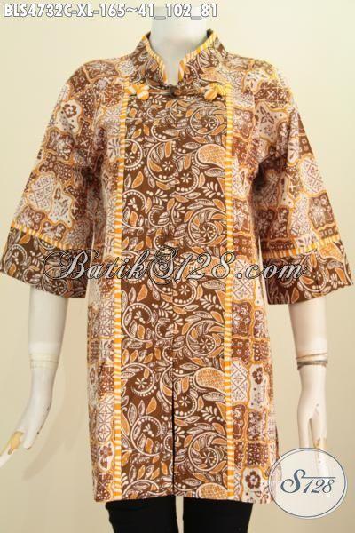 Jual Online Baju Blus Batik Model Salur Warna Elegan Motif Berkelas, Produk Pakaian Batik Istimewa Khas Jawa Tengah Spesial Buat Wanita Dewasa Tampil Modis Dan Istimewa, Size XL