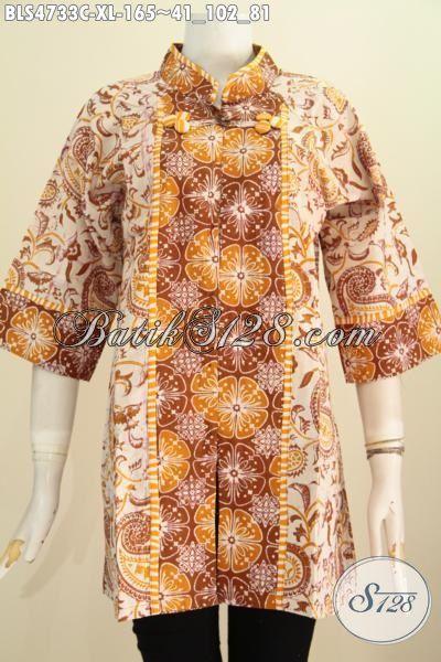 Blus Batik Motif Mewah Warna Elegan Model Salur, Pakaian Kerja Bahan Batik Cap Warna Alam Buat Wanita Dewasa Yang Selalu Ingin Terlihat Mempesona, Size XL