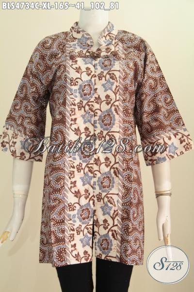 Pakaian Blus Batik Elegan Kombinasi Dua Motif Model Salur, Baju Kerja Istimewa Wanita Karir Masa Kini Untuk Tampil Berkelas Dan Trendy, Size XL