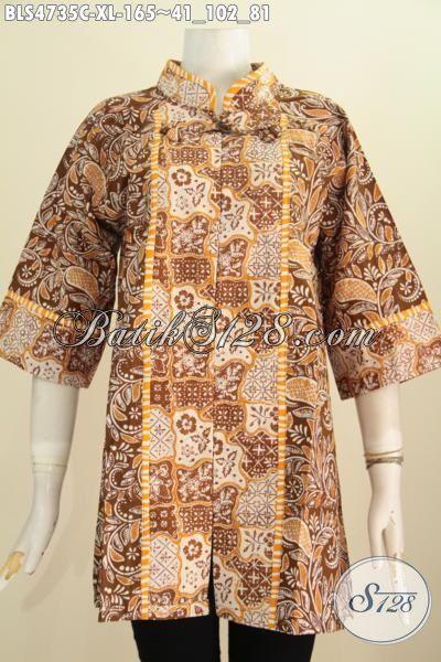 Blus Batik Modis ELegan, Pakaian Batik Trendy Model Salur Bahan Kwalitas Bagus Proses Cap Berpadu Motif Berkelas Penampilan Semakin Sempurna [BLS4735C-XL]