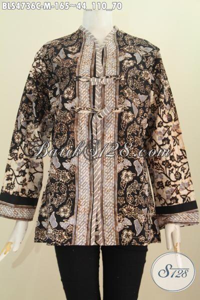 Baju Blus Salur Motif Kupu Dasar Hitam Nan Elegan, Baju Batik Berkelas Cocok Untuk Seragam Kerja Dan Tampil Mewah Di Acara Forma, Size M