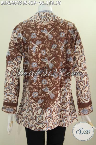 Batik Blus Elegan Motif Capung, Produk Pakaian Batik Wanita Muda Terkini Model Salur kwlaita Istimewa Bahan Adem Proses Cap Tampil Makin Trendy Aja, Size M