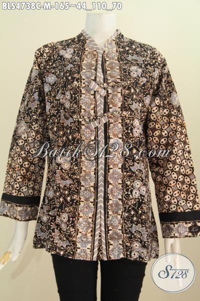 Baju Blus Batik Motif Bunga Model Salur, Pakaian Batik ELegan Proses Cap Desain Terkini Untuk Kerja Dan Acara Formal Tampil Lebih Mewah [BLS4738C-M]