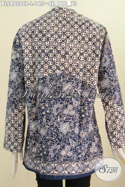 Batik Blus Salur Istimewa Motif Mewah Proses Cap, Pakaian Batik Elegan Buatan Solo Pas Banget Untuk Seragam Kerja Kantoran, Size L