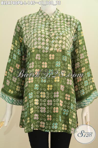 Batik Blus Hijau Kwalitas Bagus Berbahan Halus Kain Paris, Pakaian Batik Istimewa Untuk Perempuan Masa Kini Tampil Modis Dan Gaya, Size L