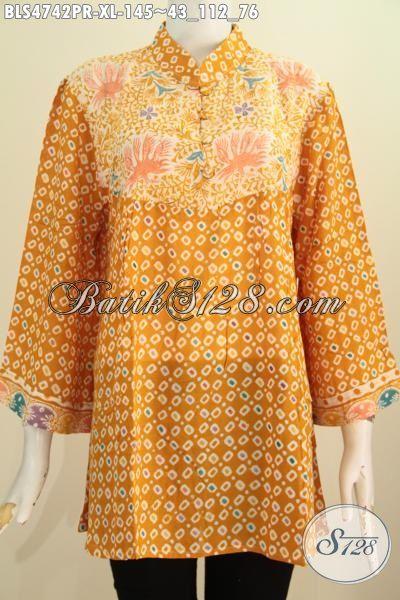 Sedia Pakaian Blus Batik Warna Kuning Bahan Paris, Busana Batik Istimewa Tidak Pakai Furing Proses Cap Keren Buat Hangout, Size XL