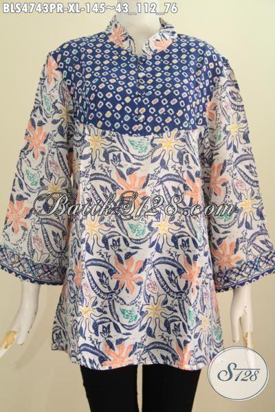 Jual Online Baju Blus Batik Bahan Paris Motif Kombinasi Desian Mewah Spesial Untuk Wanita Masa Kini Yang Ingin Tampil Keren Dan Bergaya, Size XL