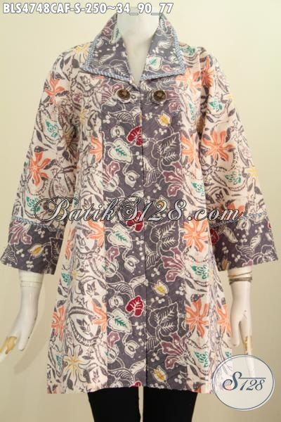Blus Batik Motif Bunga Kwalitas Bagus, Pakaian Batik Elegan Dan Trendy Bahan Adem Model Opnesel, Baju Batik Perempuan Masa Kini Proses Cap Warna Alam harga 250K, Size S