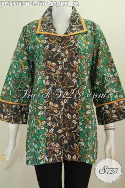 Produk Baju Blus Batik Dua Warna Kwalitas Istimewa, Pakaian Batik Modis Model Opnesel sobek Lengan Bawah Daleman Full Furing Motif Terkini Cap Warna Alam, Size L