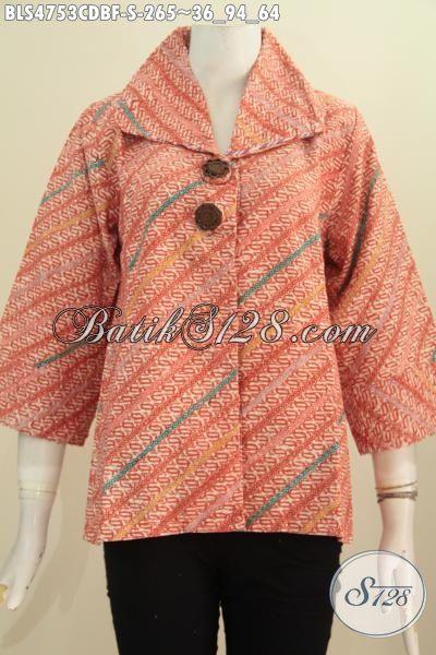 Baju Blus Opnesel Motif Keren Proses Cap, Pakaian Batik Bahan Doby Desain Terkini Pakai Furing Tricot Cocok Sekali Untuk Seragam Kerja, Size S
