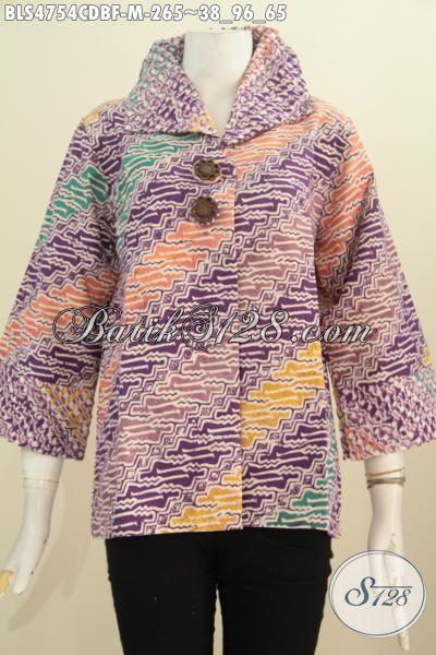 Blus Batik Parang Dengan Kombinasi Warna Trendy Model Opnesel Full Furing Motif Proses Cap Elegan Untuk Kerja Modis Buat Acara Formal, Size M