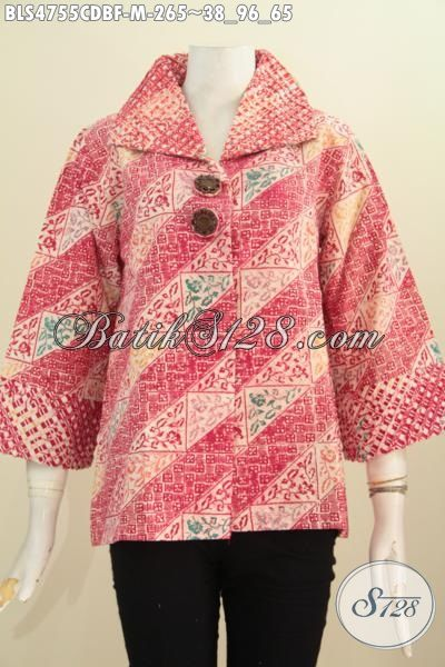 Sedia Batik Blus Trendy Motif Elegan Warna Cerah Model Opnesel, Baju Batik Istimewa Full Furing Tricot Buatan Solo Buat Penampilan Makin Istimewa, Size M