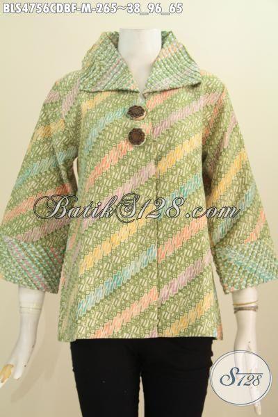 Jual Baju Blus Online Model Opnesel, Pakaian Batik Seragam Kerja Wanita Karir Bahan Adem Proses Cap Daleman Pakai Tricot Asli Buatan Solo Harga 265K, Size M