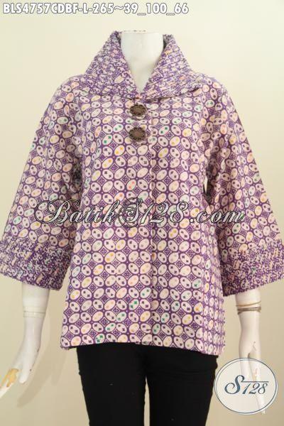 Baju Blus Elegan Warna Ungu, Produk Blus Batik Istimewa Buatan Solo, Baju Batik Modern Model Opnesel Full Furing Motif Bagus Proses cap Wanita Terlihat Istimewa, Size L