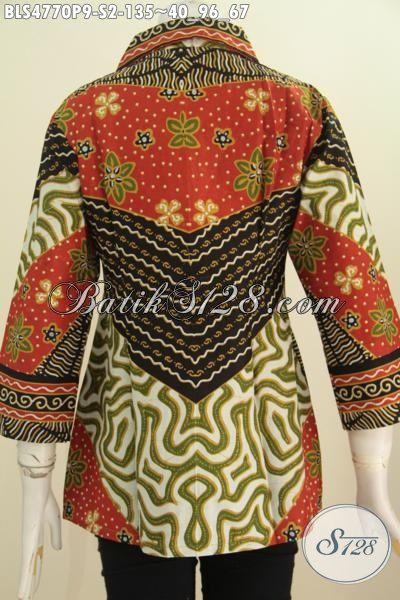 Pakaian Batik Klasik Elegan Model Kerah Kotak, Baju Batik Blus Berkelas Motif Sinaran Proses Printing Cocok Untuk Acara Formal, Size S