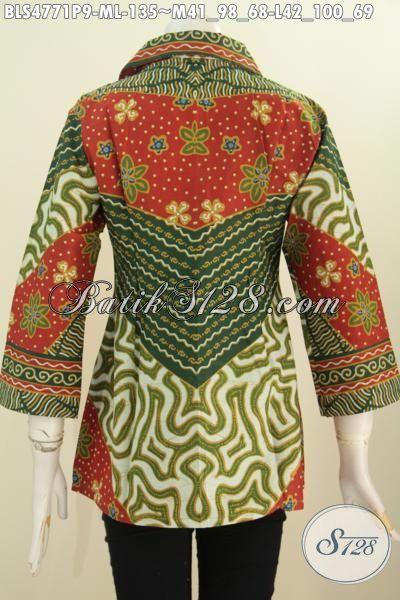 Di Jual Online Blus Klasik Istimewa Motif Sinaran Proses Print, Baju Batik Seragam Kerja Wanita Karir Tampil Elegan Berkelas Hanya Dengan 100 Ribuan, Size M