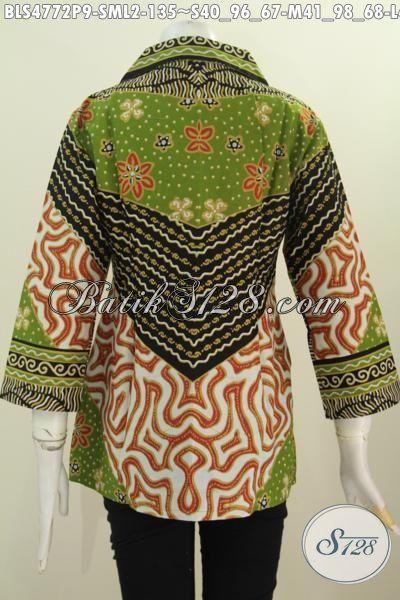 Jual Baju Batik Kerah Kotak Untuk Wanita Muda Dan Dewasa, Pakaian Batik Modis Halus Buatan Solo Motif Sinaran Kwalitas Istimewa Proses Printing, Size S – M – L