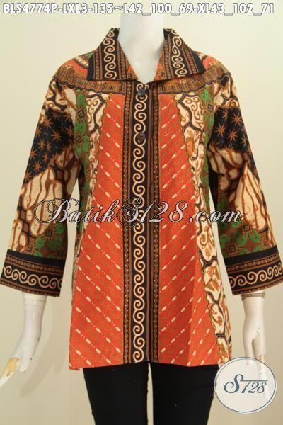 Baju Blus Kerah Kotak Untuk Wanita Dewasa, Busana Batik Elegan Mewah Halus Size XL Bahan Adem Motif Sinaran Proses Printing