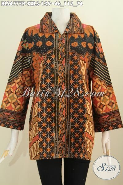 Pakaian Blus Batik Masa Kini Bahan Adem Motif Klasik Sinaran, Busana Batik Elegan Mewah Proses Print Untuk Penampilan Lebih Berkelas, Size XXL